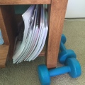 I sometimes use these dumbells, but I am always collecting notebooks.